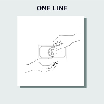 Continuous line drawing of currency circulate euro