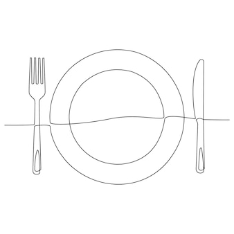Continuous line drawing of dinner plate with knife and fork doodle sketch of cutlery and plates