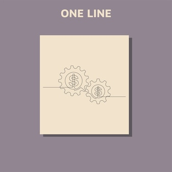 Continuous line drawing of dollar and gears wheel