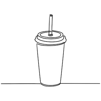 Continuous line drawing of drinking in paper or plastic cups with lids and straws vector