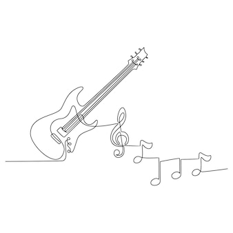 Continuous line drawing of electric guitar musical instrument with instrument notes vector