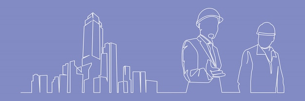 Continuous line drawing engineer building construction supervision vector illustration simple. industry