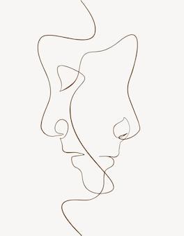 연속선, 드로잉은 남성과 여성의 얼굴을 하고 있습니다. 한 줄 패션 일러스트