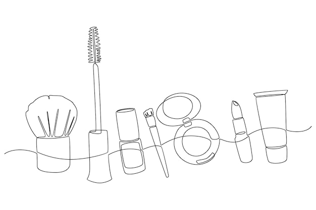 Continuous line drawing of facial styling equipment vector illustration