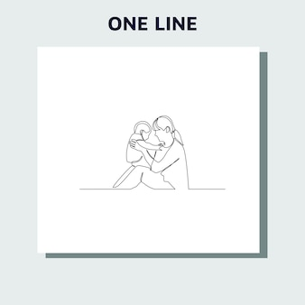 Continuous line drawing of family, parenthood and people concept