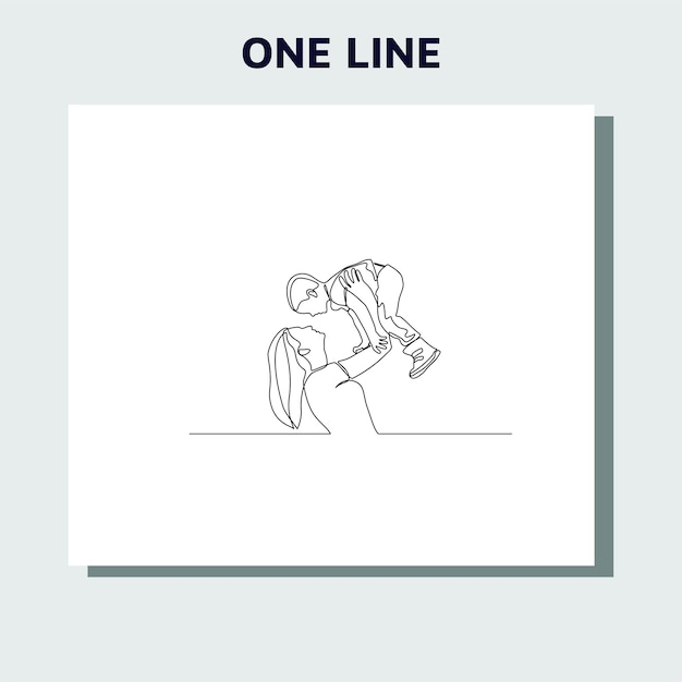 Continuous line drawing of family parenthood