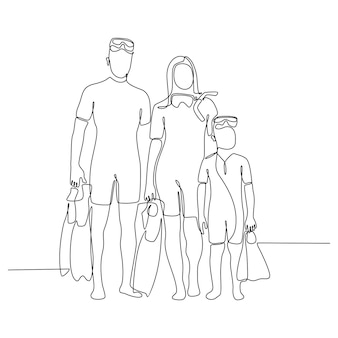Continuous line drawing of family portrait holding diving flippers and posing