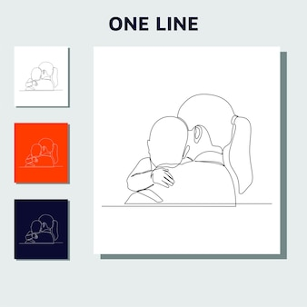 Continuous line drawing of family