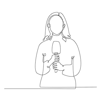Continuous line drawing of female journalist with microphone doing a live broadcast vector