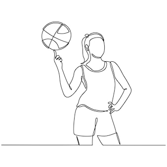 Continuous line drawing of female professional basketball player isolated with ball fitness concept