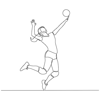 Continuous line drawing of female professional volleyball player isolated with ball fitness concept