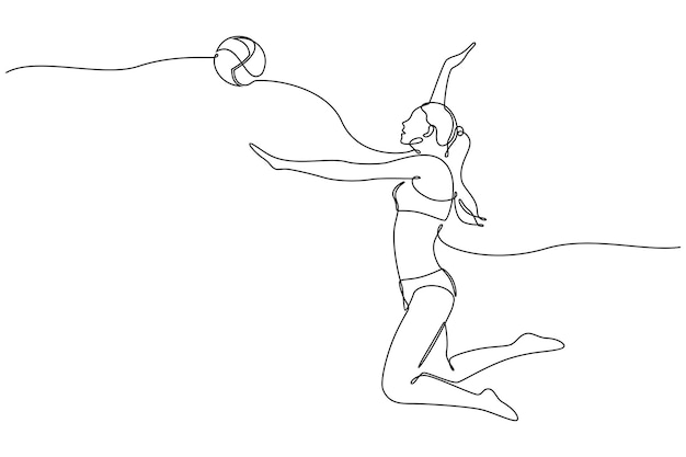 Continuous line drawing of female professional volleyball player isolated with ball