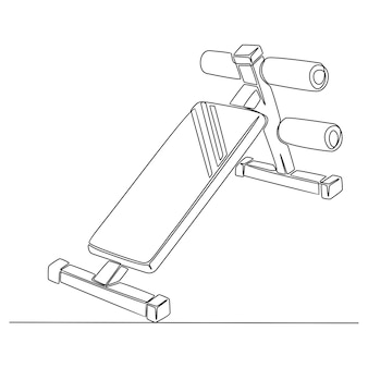 Continuous line drawing of fitness tools body vector illustration
