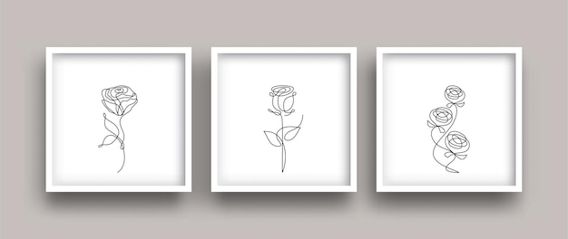 Continuous line drawing of flowers set
