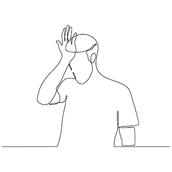 Continuous line drawing of a forgetful young man vector illustration