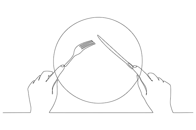 Continuous line drawing of fork and knife in hand vector illustration
