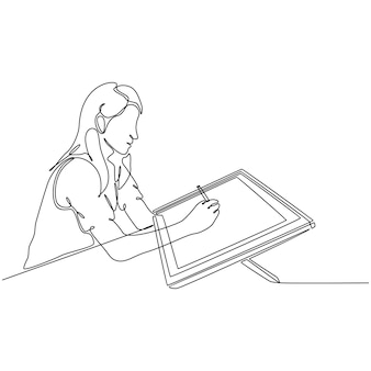 Continuous line drawing of girl drawing with digital screen monitor vector illustration