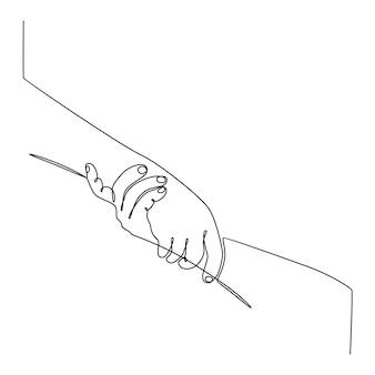 連続線画は、助け合う手が安全を助けるという概念を互いに助け合うベクトルを与える