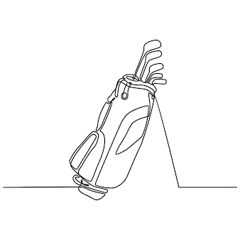 Continuous line drawing of golf bag with golf club vector illustration