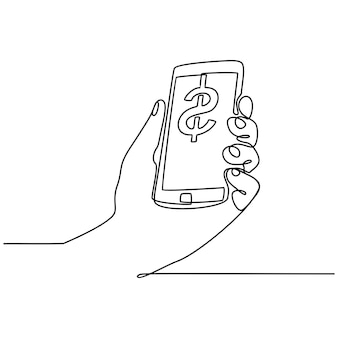Continuous line drawing of hand check mobile digital money vector illustration