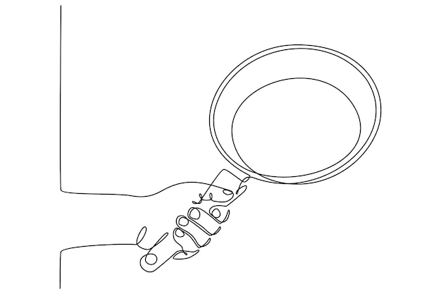 Continuous line drawing hand holding a frying pan vector illustration
