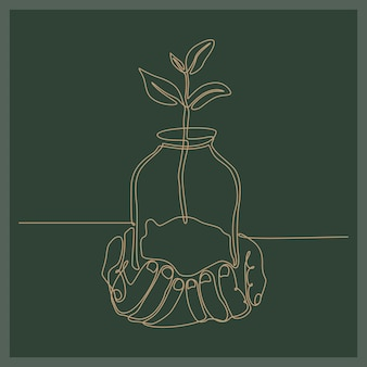 Continuous line drawing of a hand holding a glass cup containing herbs business concept