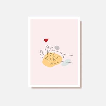 Непрерывного рисования линии рука держит сердце
