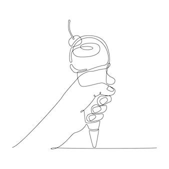連続線画手持ちアイスクリームベクトルイラスト
