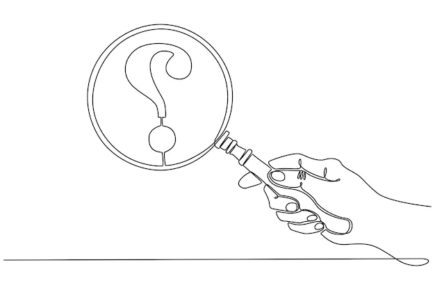 Continuous line drawing hand holding a magnifying glass with question mark icon vector illustration