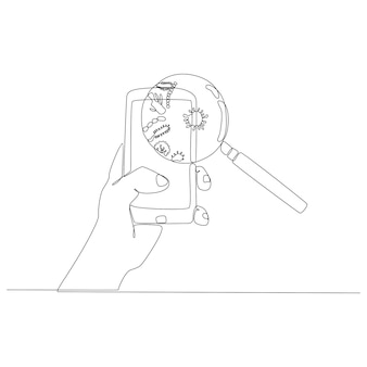 Continuous line drawing of a hand holding a mobile phone with magnifying glass identifying