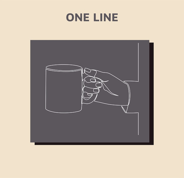 Continuous line drawing of hand holding a mug isolated