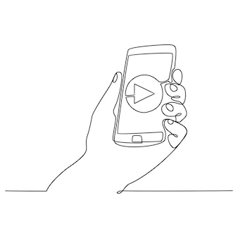 Continuous line drawing hand holding sematfone concept watch video vector illustration
