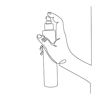 Continuous line drawing of hand holding spray vector illustration