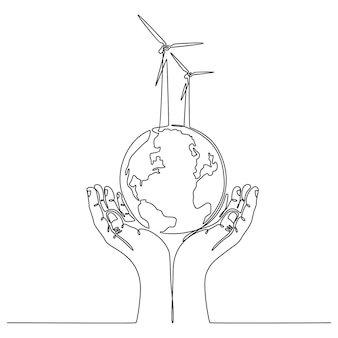 Continuous line drawing of hand with globe energy saving concept vector illustration