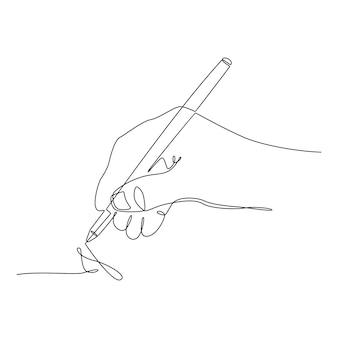 연필 벡터 일러스트와 함께 연속 선 그리기 손 쓰기