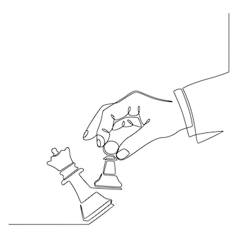 Continuous line drawing of hands holding the figure of a chess piece and knocking out the queen