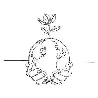 Continuous line drawing of hands holding globe with plants vector illustration