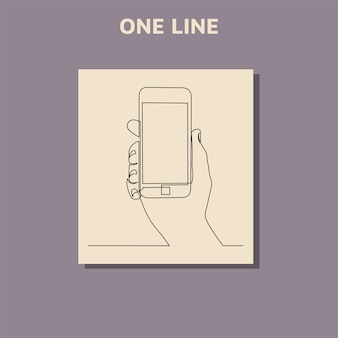 Continuous line drawing of hands that hold a modern mobile phone