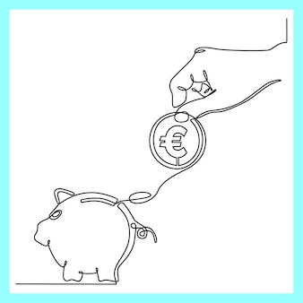 Continuous line drawing of hands with coins and piggy bank currency saving concept