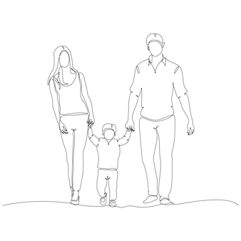 Continuous line drawing of happy family profile vector