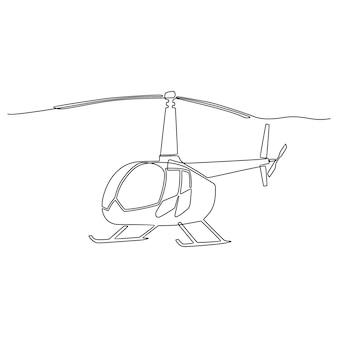 Непрерывная линия рисования вертолет векторные иллюстрации
