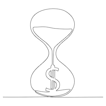 Continuous line drawing of hourglass with dollar sign vector illustration