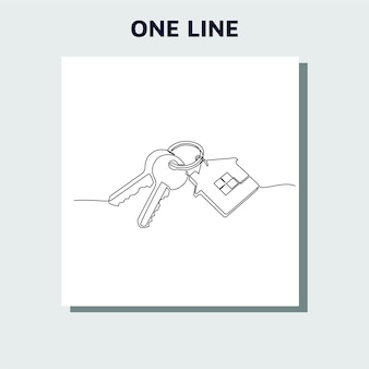 Continuous line drawing of house keys with house shaped keychain