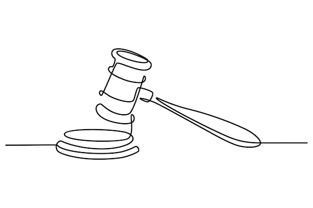 Continuous line drawing of judges hammer vector illustration