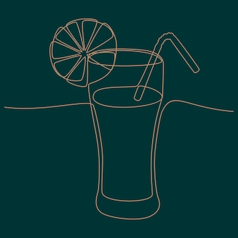 Continuous line drawing of juice vector illustration