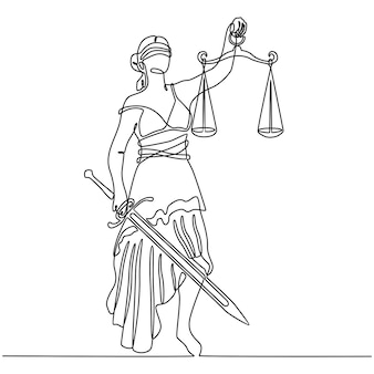 Continuous line drawing of justice symbol blindfolded with weight on arm and sharp sword vector