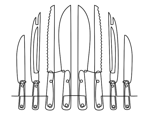 Continuous line drawing of kitchen utensils or cooking utensils one line knife vector
