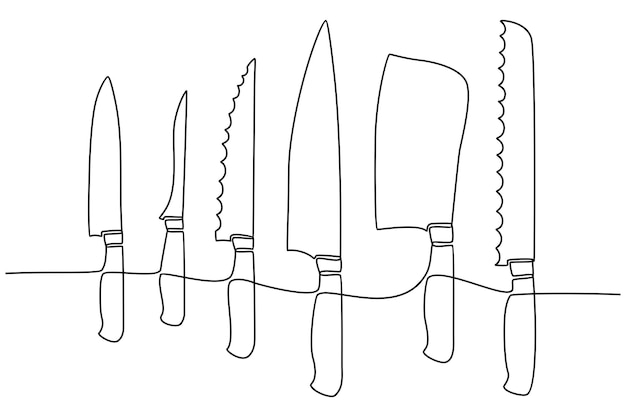 Continuous line drawing of kitchen utensils or cooking utensils