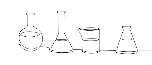 Continuous line drawing of laboratory bottle vector illustration
