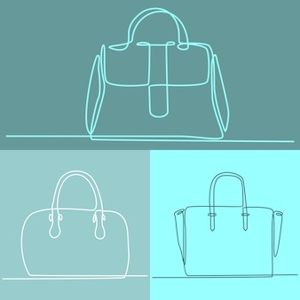 Continuous line drawing of ladies handbag collection vector illustration